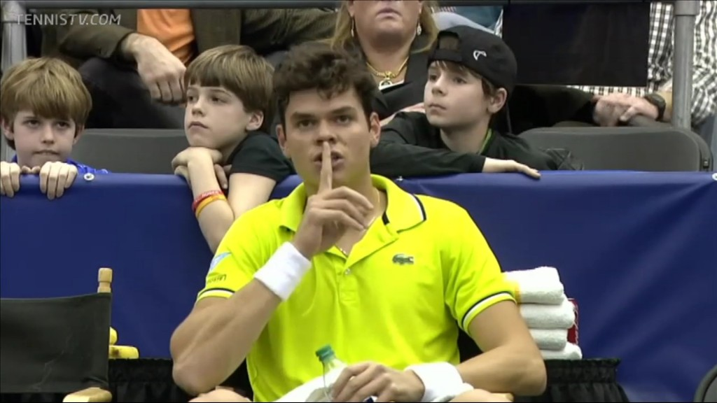 Milos Raonic tells his box to keep quiet in order to keep his mental composure after being broken in the first set against Jurgen Melzer in the Memphis 2012 final.  (screenshot from http://www.tennistv.com)
